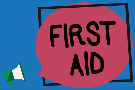 Conceptual hand writing showing First Aid.