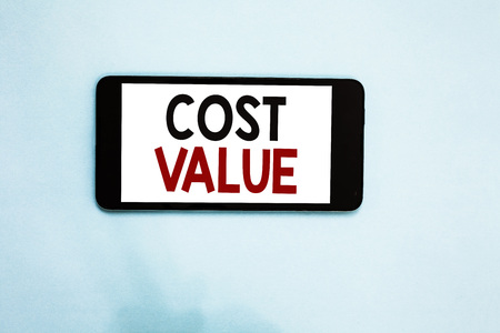 Text sign showing Cost Value. Stock Photo