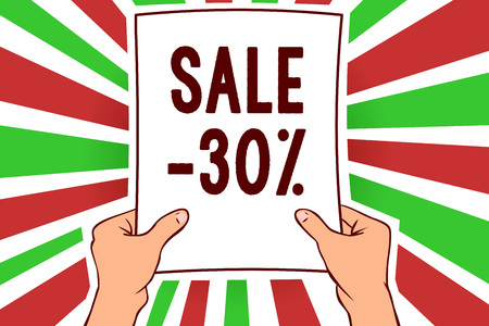 Writing note showing Sale 30. Business photo showcasing A promo price of an item at 30 percent markdown Man holding paper important message remarkable red rays bright ideas