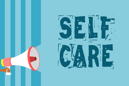 Text sign showing Self Care. Conceptual photo Give comfort to your own body without professional consultant Megaphone loudspeaker blue stripes important message speaking out loud