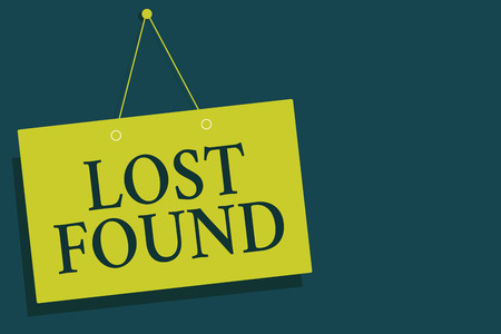 Writing note showing Lost Found. Business photo showcasing Things that are left behind and may retrieve to the owner Yellow board wall communication open close sign gray background