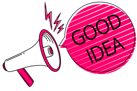 Text sign showing Good Idea. Conceptual photo State of human brain to bring great intelegence towards something Megaphone loudspeaker pink speech bubble stripes important loud message