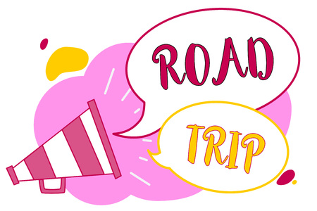 Word writing text Road Trip. Business concept for Roaming around places with no definite or exact target location Megaphone loudspeaker speech bubbles important message speaking out loud Stock Photo