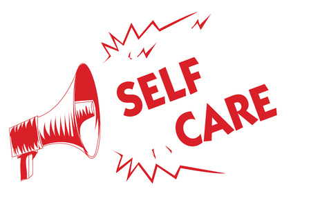 Handwriting text Self Care. Concept meaning Give comfort to your own body without professional consultant Red megaphone loudspeaker important messages screaming speaking loud