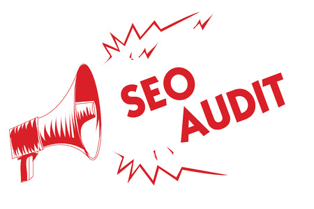 Handwriting text Seo Audit. Concept meaning Search Engine Optimization validating and verifying process Red megaphone loudspeaker important messages screaming speaking loud Imagens