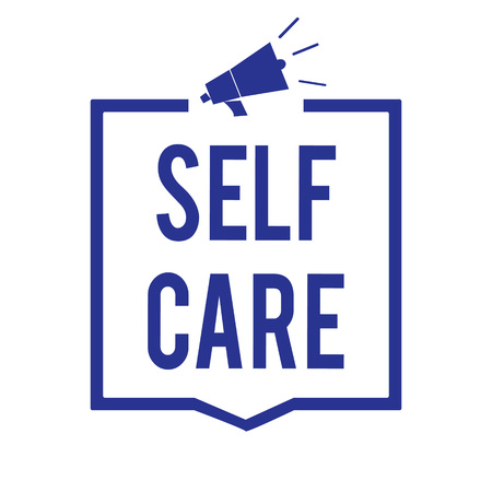 Handwriting text Self Care. Concept meaning Give comfort to your own body without professional consultant Megaphone loudspeaker blue frame communicating important information Stok Fotoğraf - 106502670