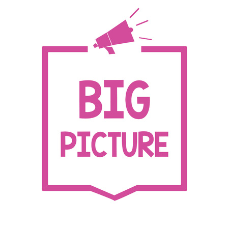 Conceptual hand writing showing Big Picture. Business photo showcasing most important facts about certain situation and its effects Megaphone loudspeaker pink frame communicating information