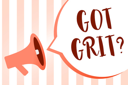 Word writing text Got Grit question. Business concept for A hardwork with perseverance towards the desired goal Megaphone loudspeaker orange stripes important loud message speech bubble Stock Photo