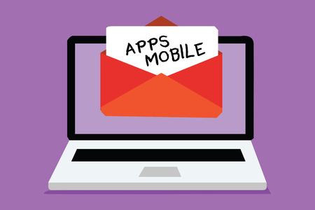 Word writing text Apps Mobile. Business concept for computer program designed to run on phone hand held device Computer receiving email important message envelope with paper virtual Stock Photo