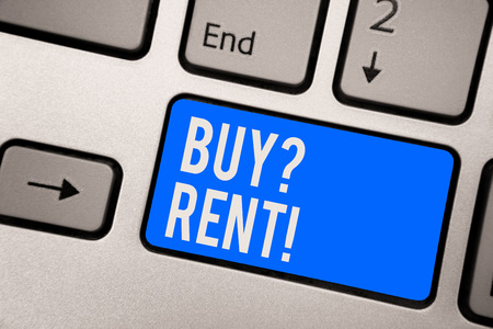 Text sign showing Buy question Rent. Conceptual photo Group that gives information about renting houses Keyboard blue key Intention create computer computing reflection document