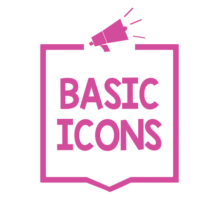 Conceptual hand writing showing Basic Icons. Business photo showcasing pictogram or ideogram displayed on a computer screen or phone Megaphone loudspeaker pink frame communicating information