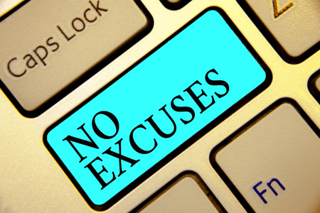 Writing note showing No Excuses. Business photo showcasing telling someone not to tell reasons for certain problem Keyboard blue key Intention computer computing reflection document 스톡 콘텐츠