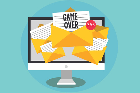 Handwriting text Game Over. Concept meaning A situation in a particular sport that reach his finals or ending Computer receiving emails important messages envelopes with papers virtual Imagens - 106510527