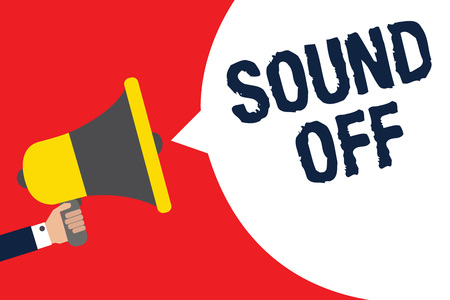 Text sign showing Sound Off. Conceptual photo To not hear any kind of sensation produced by stimulation Man holding megaphone loudspeaker speech bubble message speaking loud