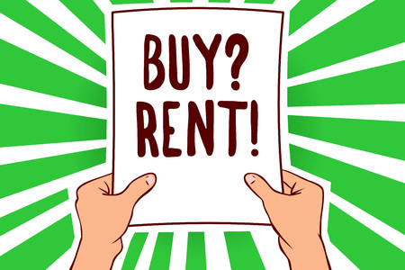 Handwriting text Buy question Rent. Concept meaning Group that gives information about renting houses Man holding paper important message remarkable green rays enlighten ideas