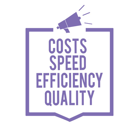 Handwriting text writing Costs Speed Efficiency Quality. Concept meaning Efficient operation inputs outputs balance Megaphone loudspeaker purple frame communicating important information Archivio Fotografico