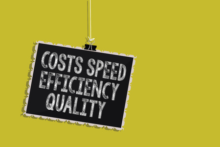 Handwriting text Costs Speed Efficiency Quality. Concept meaning Efficient operation inputs outputs balance Hanging blackboard message communication information sign yellow background Archivio Fotografico
