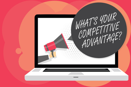 Word writing text What s is Your Competitive Advantage question. Business concept for Marketing strategy Plan Man holding Megaphone loudspeaker computer screen talking speech bubble Stock fotó