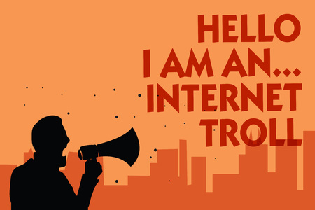 Text sign showing Hello I Am An ... Internet Troll. Conceptual photo Social media troubles discussions arguments Man holding megaphone speaking politician making promises orange background Standard-Bild