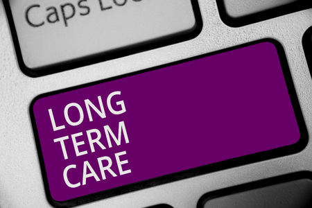 Word writing text Long Term Care. Business concept for Adult medical nursing Healthcare Elderly Retirement housing Keyboard purple key Intention create computer computing reflection document