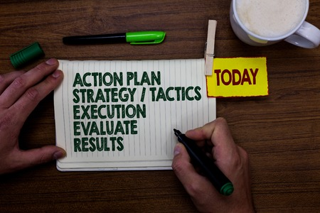 Word writing text Action Plan Strategy Tactics Execution Evaluate Results. Business concept for Management Feedback Man holding marker notebook clothespin reminder wooden table cup coffee