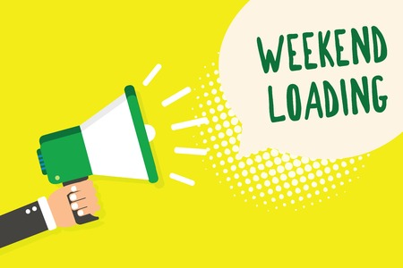 Word writing text Weekend Loading. Business concept for Starting Friday party relax happy time resting Vacations Man holding megaphone loudspeaker speech bubble yellow background halftone Фото со стока