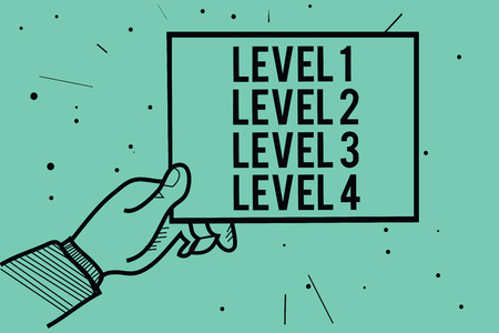 Text sign showing Level 1 Level 2 Level 3 Level 4. Conceptual photo Steps levels of a process work flow Man hand holding paper communicating information dots turquoise background