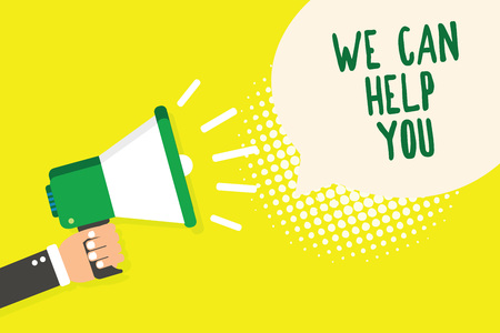 Word writing text We Can Help You. Business concept for Support Assistance Offering Customer Service Attention Man holding megaphone loudspeaker speech bubble yellow background halftone