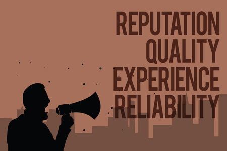 Conceptual hand writing showing Reputation Quality Experience Reliability. Business photo text Customer satisfaction Good Service Man holding megaphone politician making promises brown background 免版税图像