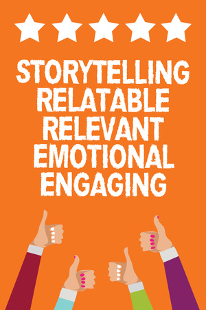 Word writing text Storytelling Relatable Relevant Emotional Engaging. Business concept for Share memories Tales Men women hands thumbs up approval five stars information orange background