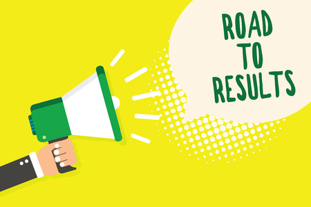 Word writing text Road To Results. Business concept for Business direction Path Result Achievements Goals Progress Man holding megaphone loudspeaker speech bubble yellow background halftone