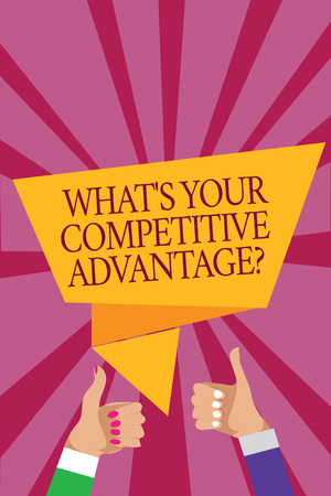 Word writing text What s is Your Competitive Advantage question. Business concept for Marketing strategy Plan Man woman hands thumbs up approval speech bubble origami rays background Stock fotó
