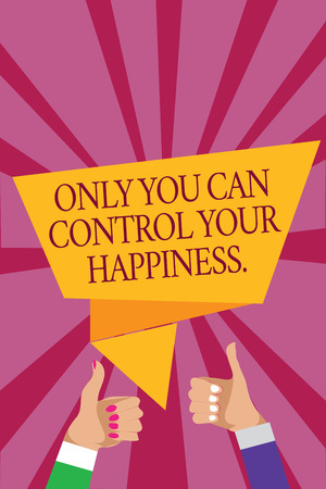 Word writing text Only You Can Control Your Happiness.. Business concept for Personal Self-motivation inspiration Man woman hands thumbs up approval speech bubble origami rays background
