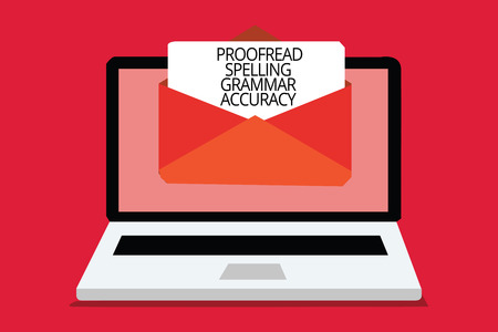 Writing note showing Proofread Spelling Grammar Accuracy. Business photo showcasing Grammatically correct Avoid mistakes Computer receiving email important message envelope with paper virtual Stock Photo