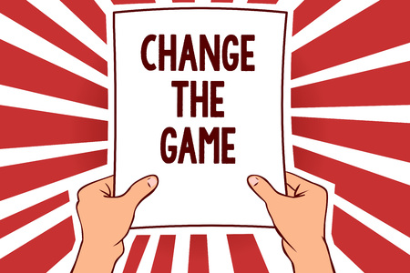 Handwriting text writing Change The Game. Concept meaning Make a movement do something different new strategies Man holding paper important message remarkable red rays enlighten ideas