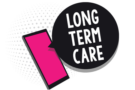 Text sign showing Long Term Care. Conceptual photo Adult medical nursing Healthcare Elderly Retirement housing Cell phone receiving text messages chats information using applications
