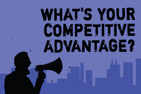 Text sign showing What s is Your Competitive Advantage question. Conceptual photo Marketing strategy Plan Man holding megaphone speaking politician making promises blue background