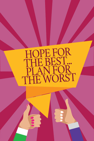 Word writing text Hope For The Best... Plan For The Worst. Business concept for Make plans good and bad possibilities Man woman hands thumbs up approval speech bubble origami rays background