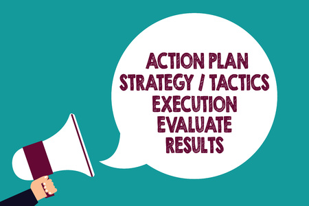 Text sign showing Action Plan Strategy Tactics Execution Evaluate Results. Conceptual photo Management Feedback Man holding megaphone loudspeaker speech bubble screaming green background Stockfoto
