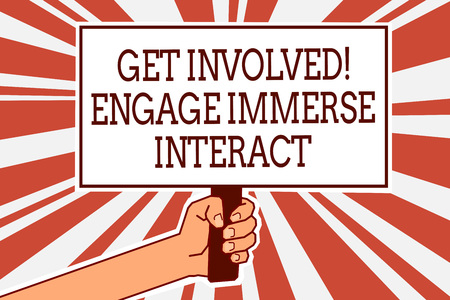 Writing note showing Get Involved Engage Immerse Interact. Business photo showcasing Join Connect Participate in the project Man hand holding poster important protest green orange rays background