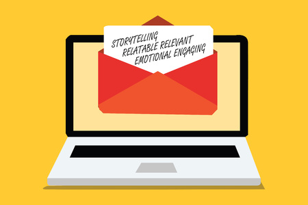 Text sign showing Storytelling Relatable Relevant Emotional Engaging. Conceptual photo Share memories Tales Computer receiving email important message envelope with paper virtual Foto de archivo