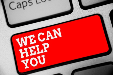 Word writing text We Can Help You. Business concept for Support Assistance Offering Customer Service Attention Keyboard red key Intention create computer computing reflection document