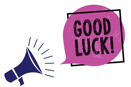 Handwriting text Good Luck. Concept meaning A positive fortune or a happy outcome that a person can have Megaphone loudspeaker speaking loud screaming frame purple speech bubble