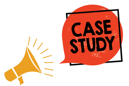 Writing note showing Case Study. Business photo showcasing A subject matter to be discussed and related to the topic Megaphone loudspeaker speaking screaming frame orange speech bubble Stock Photo