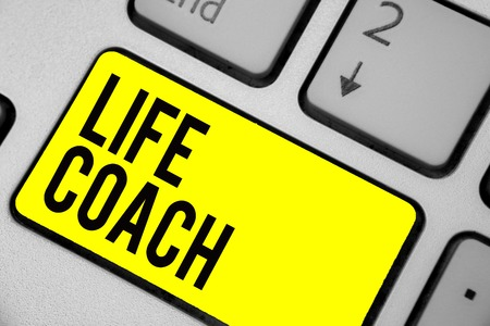 Word writing text Life Coach. Business concept for A person who advices clients how to solve their problems or goals Keyboard yellow key Intention create computer computing reflection document