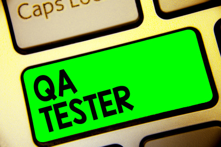 Word writing text Qa Tester. Business concept for Quality assurance of an on going project before implementation Keyboard green key Intention create computer computing reflection document