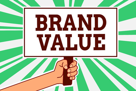 Writing note showing Brand Value. Business photo showcasing company generates from product with recognizable for its names Man hand holding poster important protest message green ray background Banco de Imagens