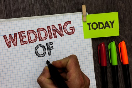Conceptual hand writing showing Wedding Of. Business photo text announcing that man and woman now as married couple forever Man holding marker notebook clothespin markers wooden table