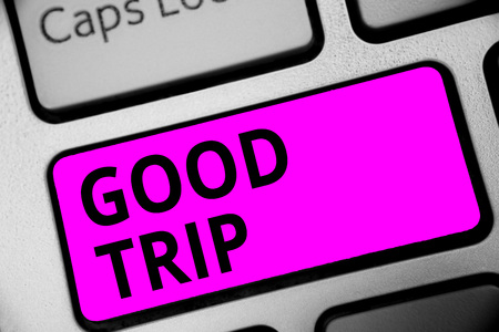 Writing note showing Good Trip. Business photo showcasing A journey or voyage,run by boat,train,bus,or any kind of vehicle Keyboard purple key Intention computer computing reflection document Stock Photo