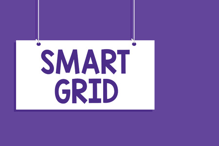 Conceptual hand writing showing Smart Grid. Business photo showcasing includes of operational and energy measures including meters Hanging board message open close sign purple background